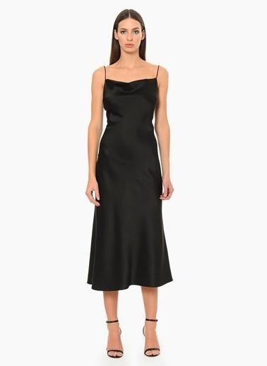 NetWork Askılı Abiye Elbise Siyah